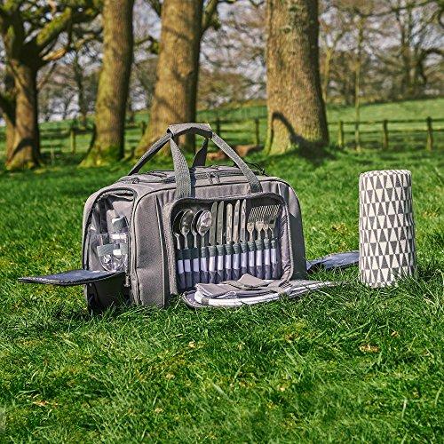 VonShef Sac de pique-nique à roulettes 4 personnes - Panier Picnic sur Roues avec Compartiment isotherme, Couverts et Plaid Inclus