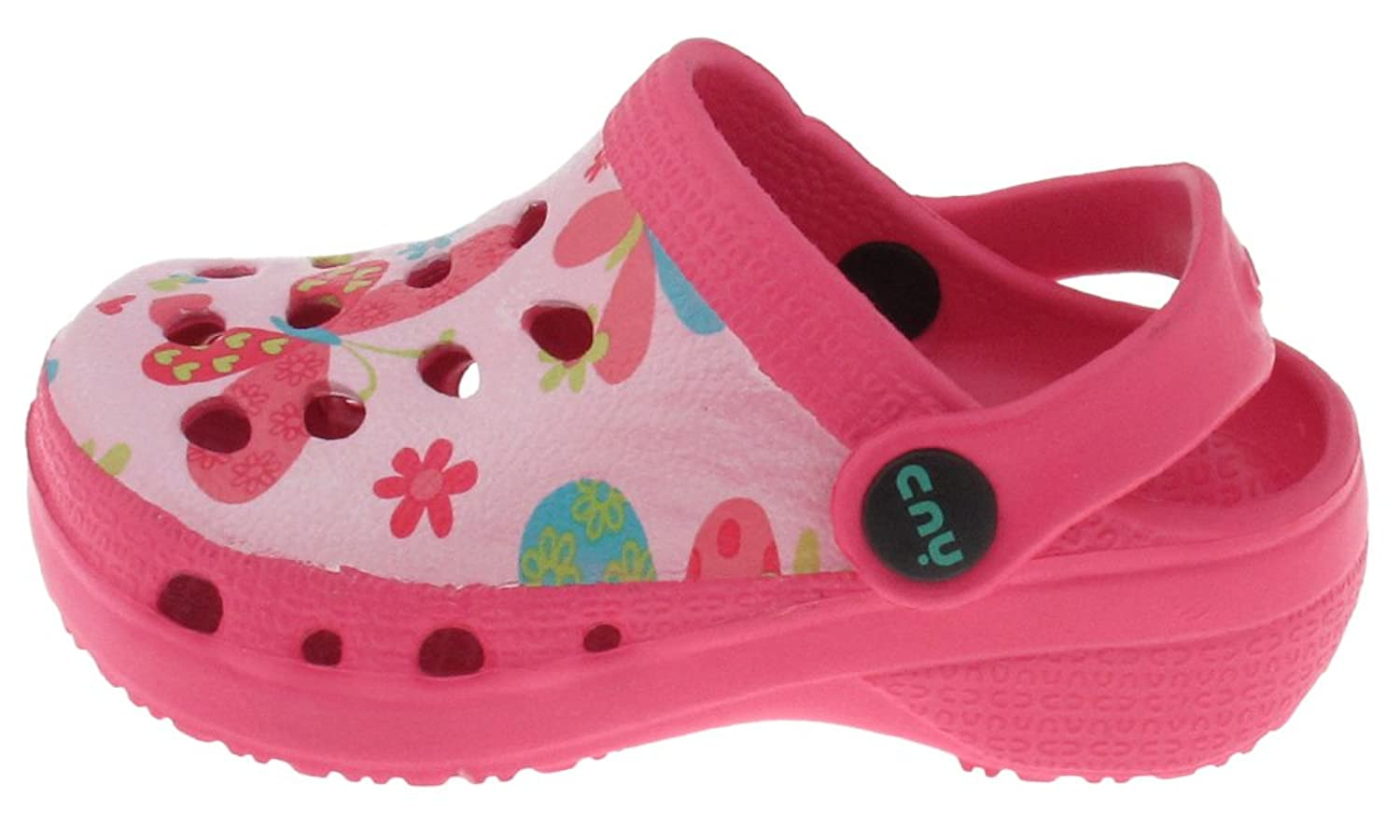 Capelli New York Toddler Girls Fluttering Butterflies Printed Injected Eva Clog With Backstrap Pink Combo
