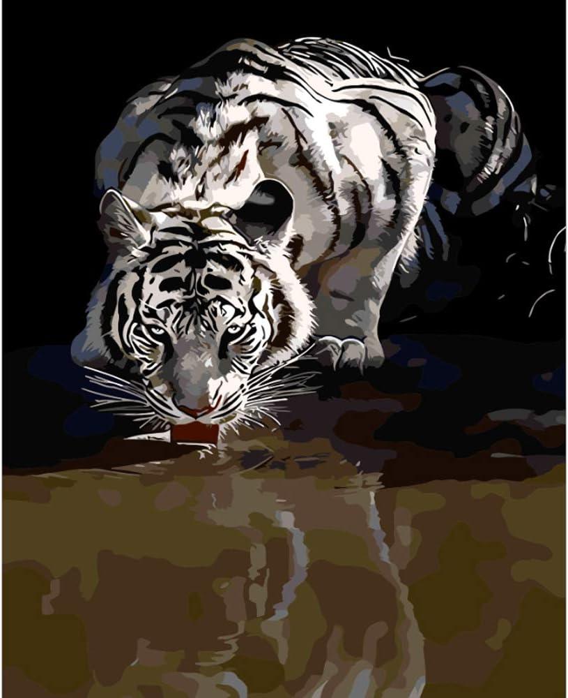 LvJin DIY Pintura Digital Reflejo Tigre, Lienzo Blanco y Negro sin Marco, 20 * 26 Pulgadas, Herramientas de Pintura, Pintura de Lienzo para niños