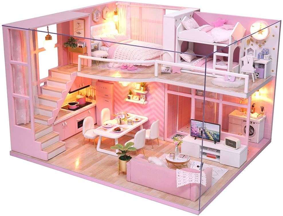 3D Wooden Miniature House with Dust Cover and Music Movement Miniature Dolls House kit M21 Fsolis DIY Dollhouse Miniature Kit with Furniture