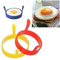 Hunpta Silicone Round Egg Rings Pancake Mold Handles Nonstick Fried Frying Pancake Mold (A)
