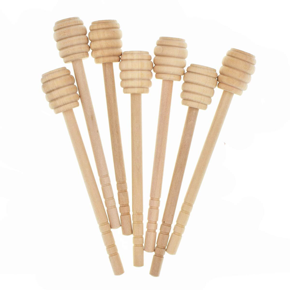 50 Pack 6 inch Portable Wooden Jam Honey Dipper Honey Sticks for Honey Jam Jar Dispense Teekia