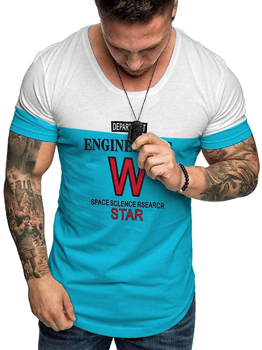 X-Future Men Cotton Active Fashion Letters Print Short Sleeve Tee Top T-Shirts