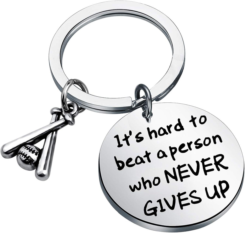 FUSTMW Inspirational Baseball Gifts Baseball Charm Key Chain Sports Jewelry Inspirational Quote Baseball Lovers Gifts