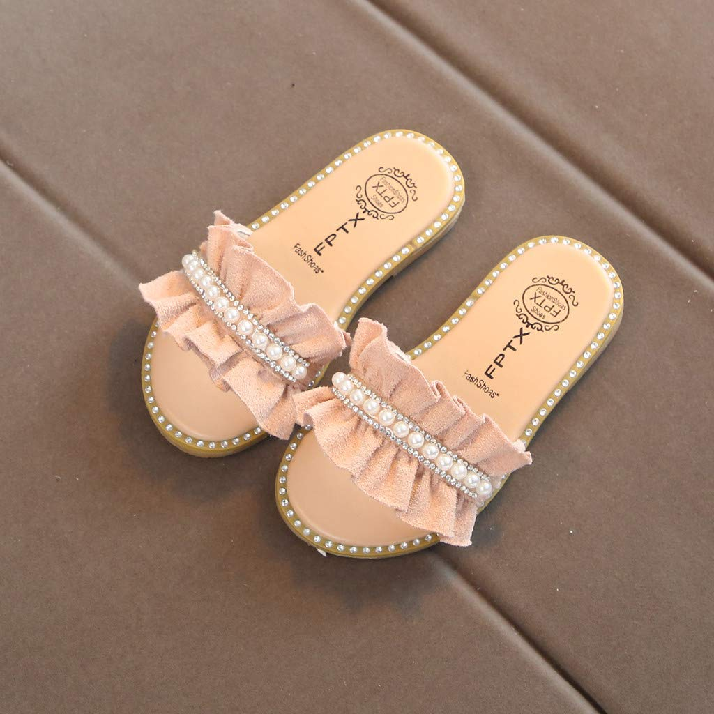 SMOXX Sandals for Toddler Kids Baby Girls Pearls Crystal Ruffles Princess Shoes Sandals Slippers