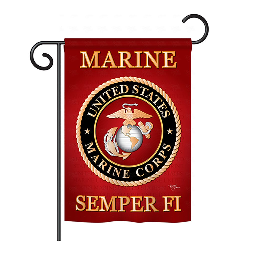 "Breeze Decor G158057 Marine Corps Americana Military Impressions Decorative Vertical Garden Flag 13"" x 18.5"" Printed in USA Multi-Color"