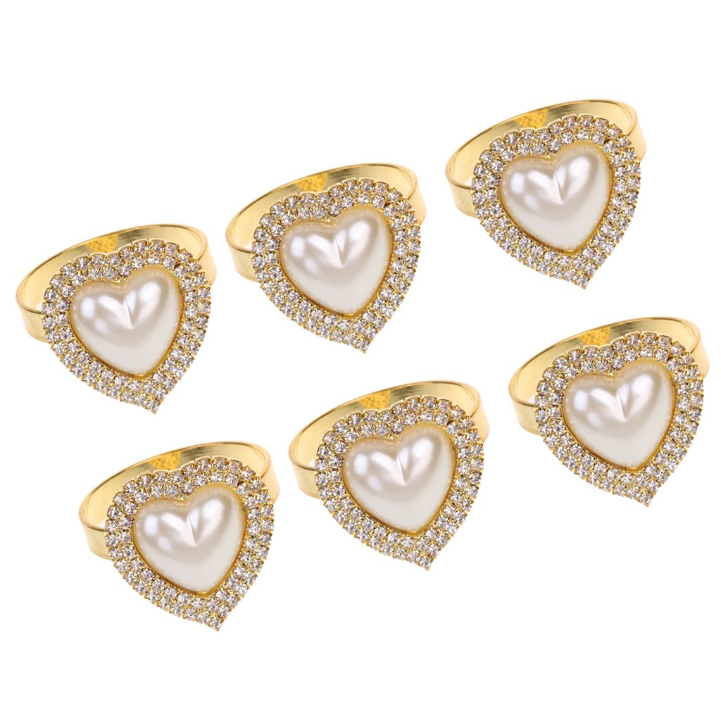 MonkeyJack 6 Pieces Napkin Rings Serviette Holder for Wedding Dinner Party Everyday Use Gold Rhinestone Love Heart