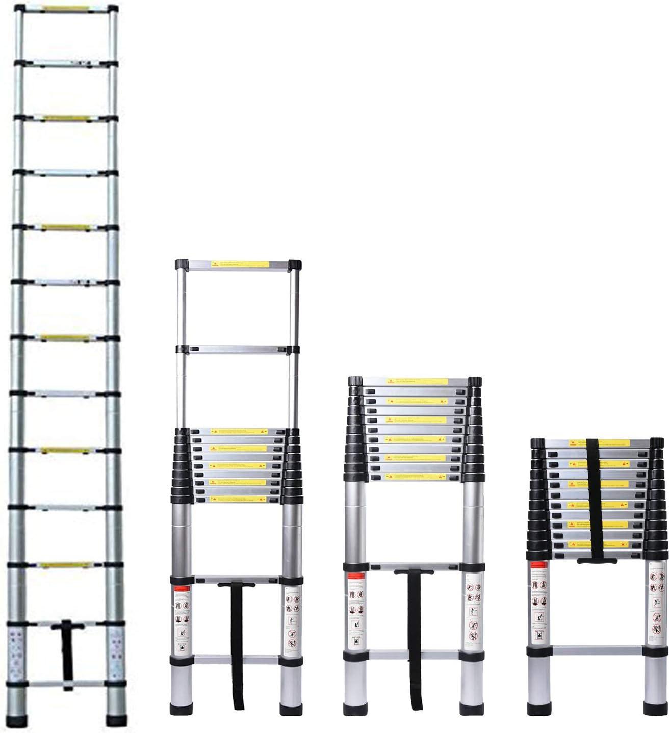 6.2M//20.35ft Aluminium Extension Telescopic Ladder Multi-Purpose Foldable Ladders and Roof Hook Portable Space-Saving EN 131 Certificate Max Load 150kg//330lb for Attic Loft
