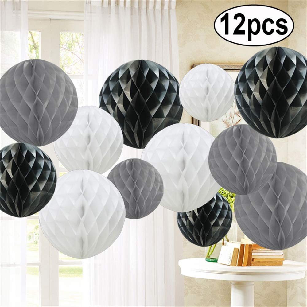 Poms Birthday Baby Shower Wedding Decorations Balls-Baby Blue Shade Time to Sparkle TtS 12 Pack Tissue Paper Honeycomb Balls