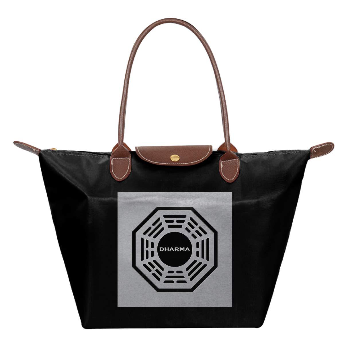 Dharma Initiative Logo Lost Waterproof Leather Folded Messenger Nylon Bag Travel Tote Hopping Folding School Handbags