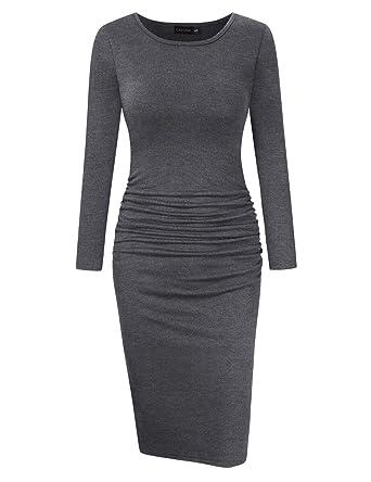 524febb361c7f1 GloryStar Women s Long Sleeve Ruched Bodycon Midi Sheath Pencil Dress Grey S