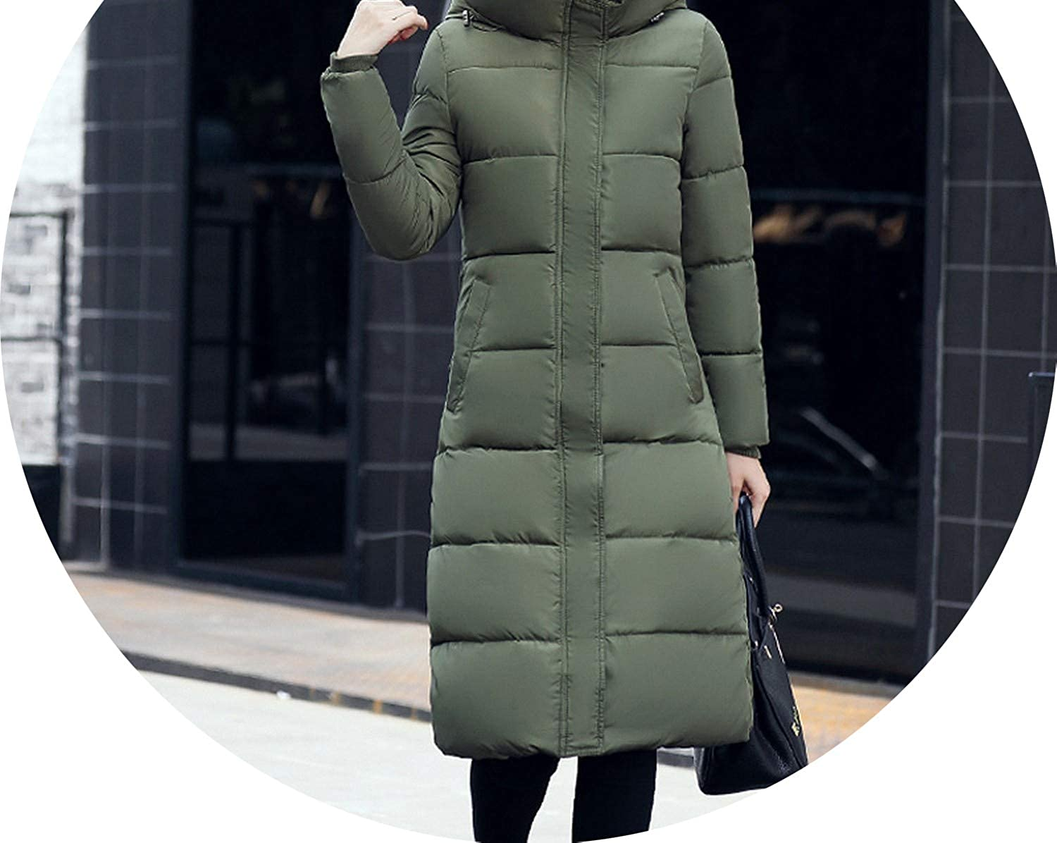 Warm Thicken Female Coat Winter Womens Hooded Cotton Padded Womens Winter Jackets Lon,Army Green,XXL