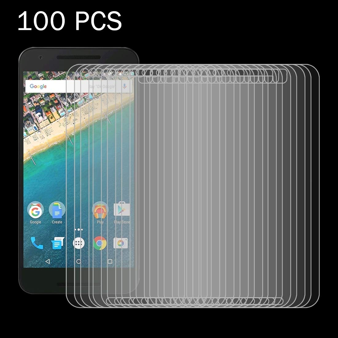 KANEED Tempered Glass Film, 100 PCS for Google Nexus 5X 0.26mm 9H Surface Hardness 2.5D Explosion-Proof Tempered Glass Screen Film