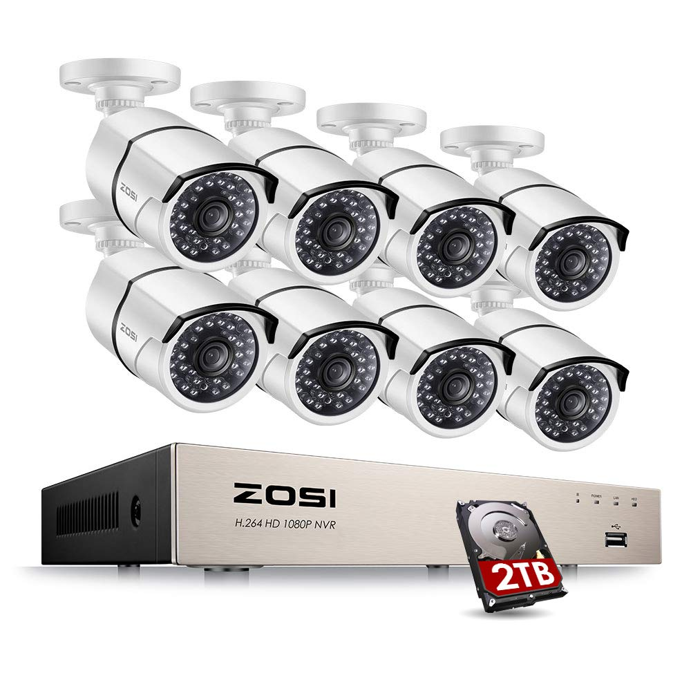 ZOSI Full HD 1080P PoE Video Security Cameras System,8CH 1080P Surveillance NVR, 8x2.0 Megapixel Outdoor Indoor Weatherproof IP Cameras, 120ft Night Vision with 2TB Hard Drive, Power over Ethernet by ZOSI