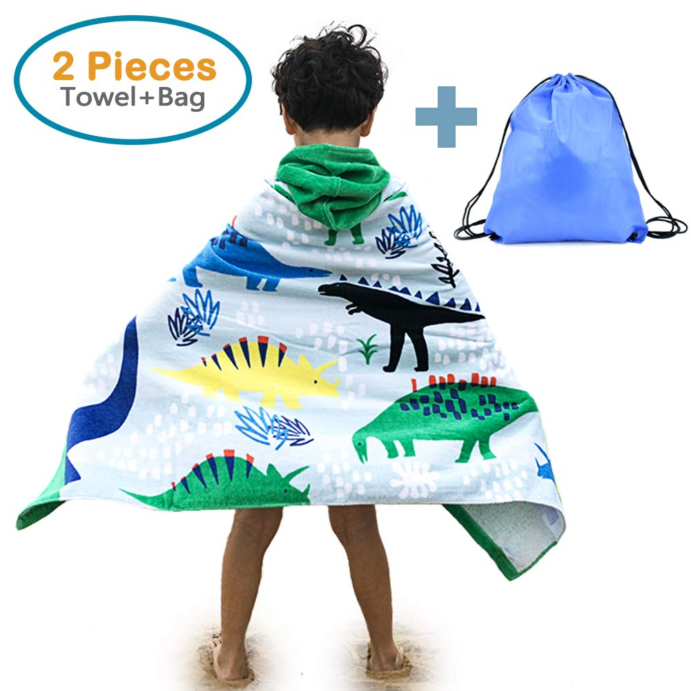 100% Cotton Hooded Beach Bath Towel and Bag Set Large for Kids/Poncho Swim Beach Towel Pirate Ship Pattern 4-14 Years 4335342253