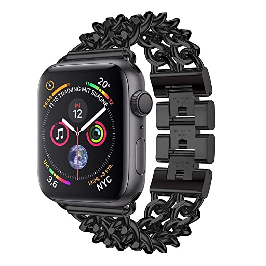 70127ec0fb53 Amazon.com  Amaping New for iWatch 4 Double Row Cowboy Chain Metal Strap  Watch Band Replacement Bracelet for IWatch Apple Watch Series 4 (40mm)  (Black)  ...