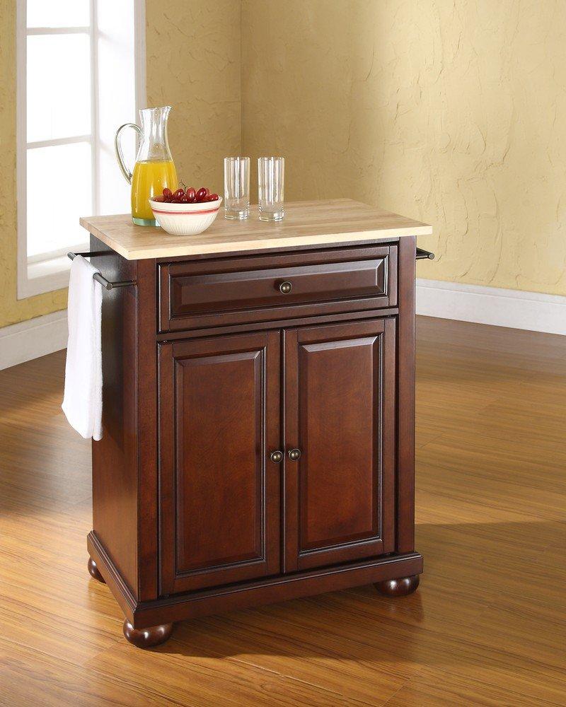 amazoncom crosley furniture alexandria cuisine kitchen island with natural wood top black kitchen islands u0026 carts