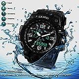 Digital Pedometer Sport Watch Big Dial Wristwatch Dual Time Stopwatch Travel Outdoor 50m Waterproof