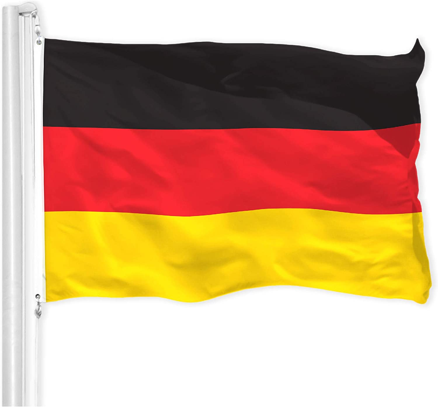 G128 – Germany (German) Flag | 3x5 feet | Printed 150D – Indoor/Outdoor, Vibrant Colors, Brass Grommets, Quality Polyester, Much Thicker More Durable Than 100D 75D Polyester