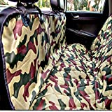 Plush Paws Pet Seat Cover with Seat Anchors Waterproof Side Flaps Hammock Non Slip Silicone Backing Bonus Pair of Best Harness & Seat Belt for Cars, Trucks, SUV's & Vehicles Military Camo For Sale