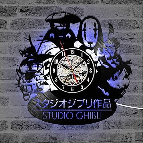 daingjiang Lapin disque vinyle LED lumi/ère de nuit horloge murale nostalgique style r/étro horloge art d/écoration murale horloge @ avec lumi/ères