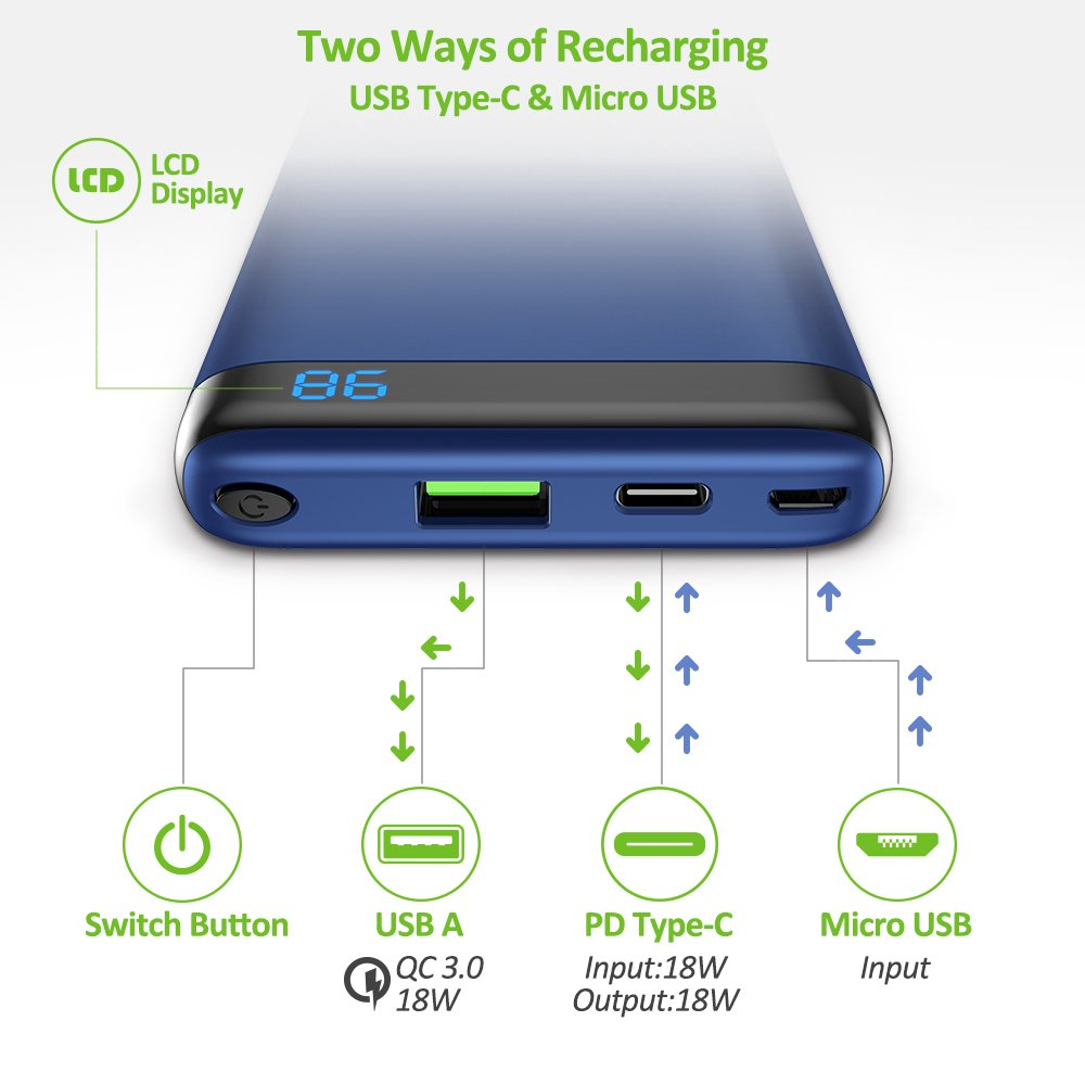 Omars USB C Power Bank, 10000 mAh PD Portable Charger Power Delivery QC Quick Charge 3.0 USB Type-C 18W Output for iPhone X/8/8 Plus, Galaxy S8/S7, Nintendo Switch and More (Dark Blue)
