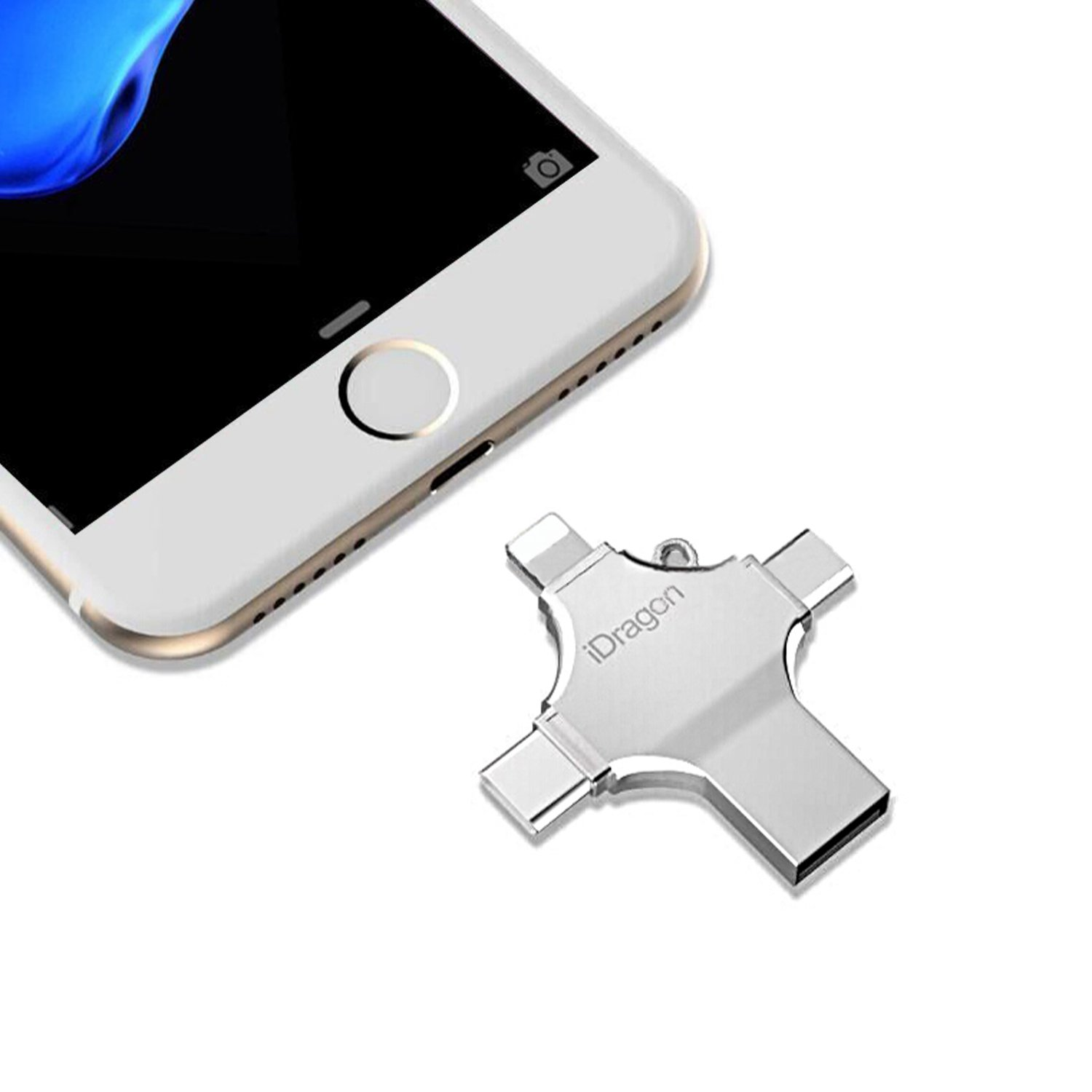 Kombrex USB Flash Drive 64GB,4 in 1 Mobile phone Flash Memory USB Stick for iPhone, iPad,Mac, PC,Android with Type C,Android Port
