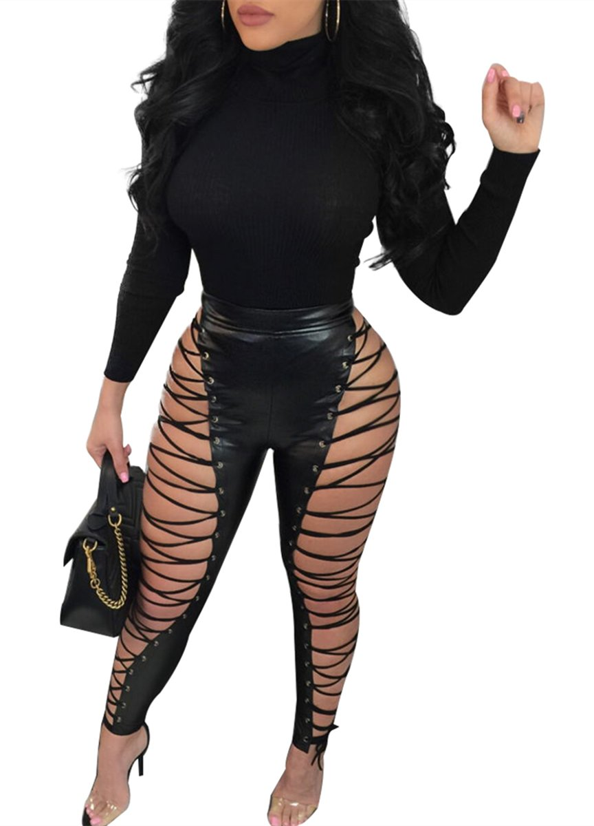 Chemenwin Women's Sexy High Waist Lace Up PU Leather Leggings Pants Party Clubwear Bodycon (X-Large, Black)