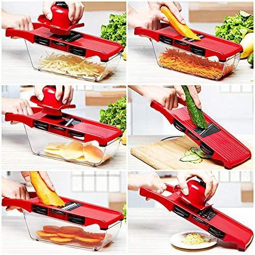 concombres tomates Ningb R/âpe /à l/égumes Multifonction 6 en 1 Mandoline Trancheuse Coupe-Pommes de Terre Coupe-Aliments avec r/écipient de Rangement pour oignons