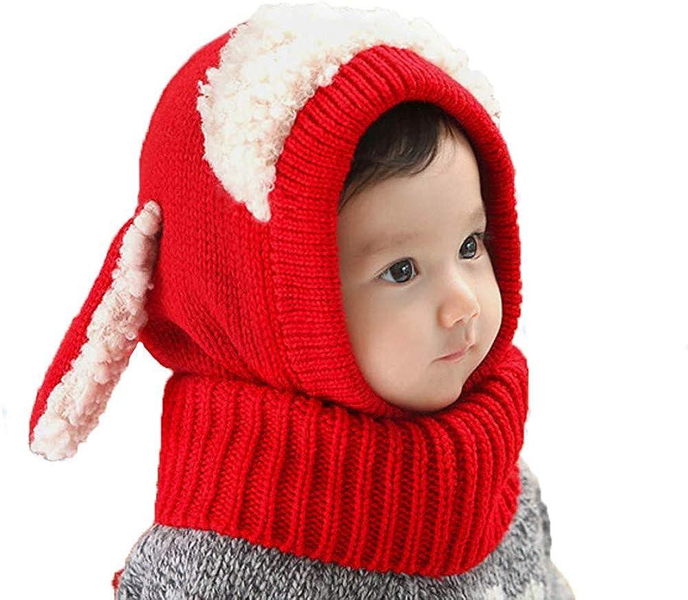 Bambino Inverno Sciarpa Set Cappello Bimba Invernale Autunno Inverno Maglia di Lana Carino Animale Cane Paraorecchie Sciarpa Cappello Adatto per attivit/à allaperto e Viaggi Rosso
