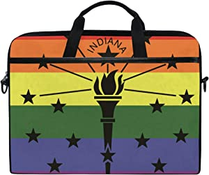 Ainans Rainbow Flag Indiana 15 inch Laptop Case Shoulder Bag Crossbody Briefcase Messenger Sleeve for Women Men Girls Boys