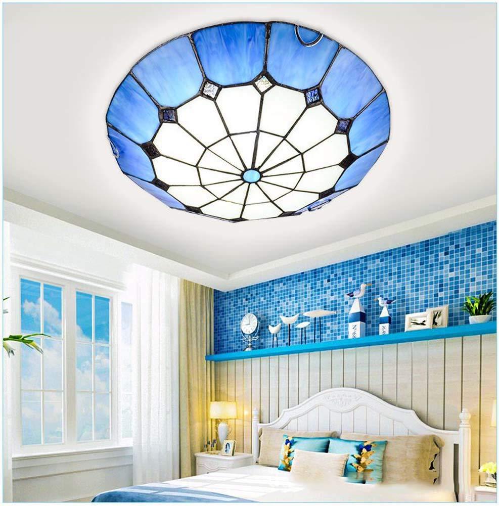 ティファニースタイルの天井灯、ヨーロッパのクリエイティブラウンド/ステンドグラスの天井ランプ、地中海の引込められたスポットライトシャン   B07RX22YFC