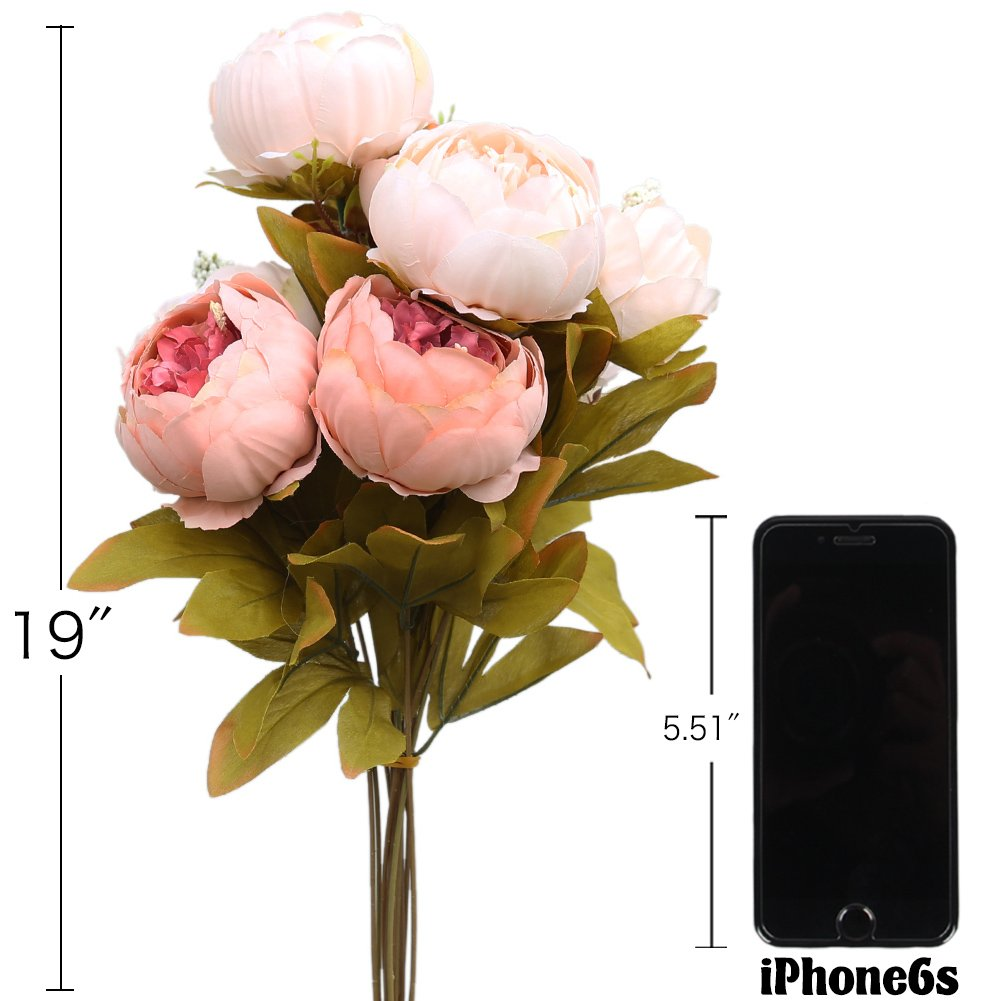 Amazon luyue vintage artificial peony silk flowers bouquet amazon luyue vintage artificial peony silk flowers bouquet light pink home kitchen dhlflorist Images