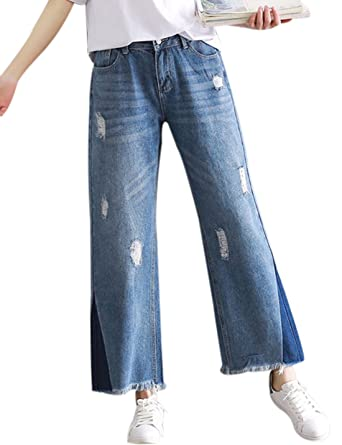 65f83f0df64b Yeokou Women's Casual Wide Leg Frayed Hem Flared Denim Cropped Jeans Pants  at Amazon Women's Jeans store