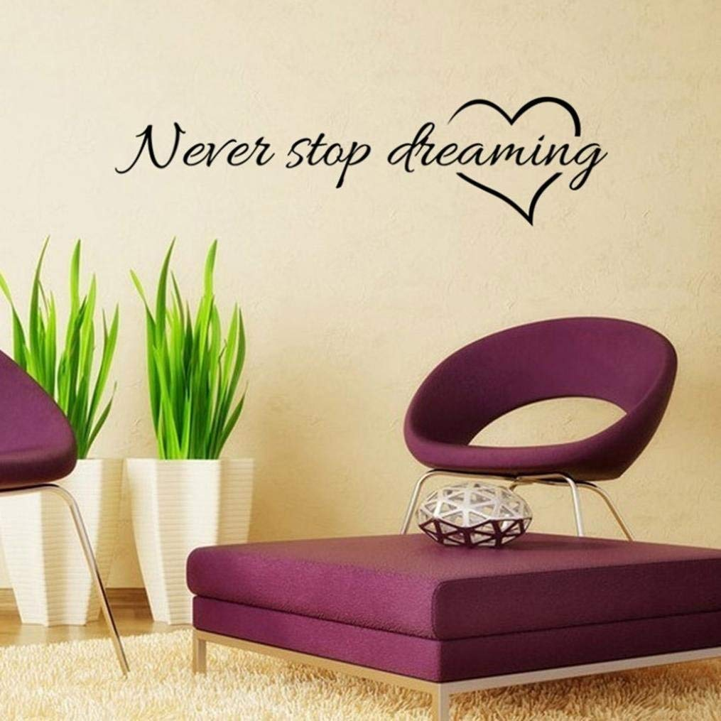 Wall Stickers,Geyou Removable Never Stop Dreaming Quotes Sayings Wall Sticker For Kids Home Living Room Decor Art Vinyl Mural Decal New (A)