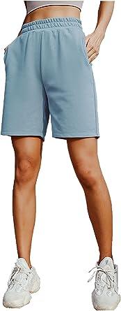 ARRIVE GUIDE Womens Casual Elastic Waist Knee Length Summer Bermuda Shorts