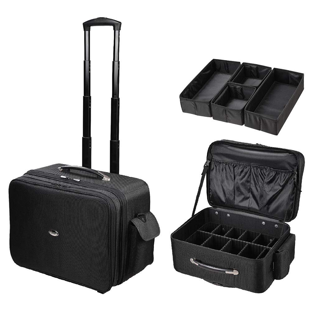AW Portable Oxford Makeup Case Cosmetic Rolling Trolley Wheeled Makeup Organizer Double Zip for Artist Hairdresser