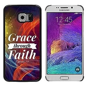 Be Good Phone Accessory // Dura Cáscara cubierta Protectora Caso Carcasa Funda de Protección para Samsung Galaxy S6 EDGE SM-G925 // BIBLE Grace Through Faith - Ephesians 2:8