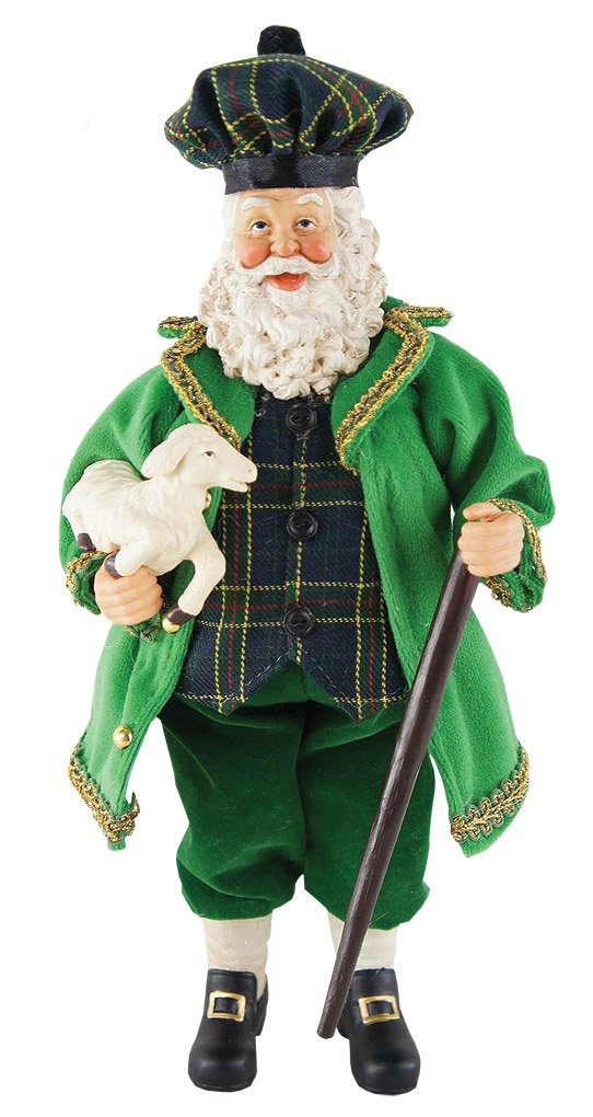 Santas Workshop Irish Santa with Lamb Figurine