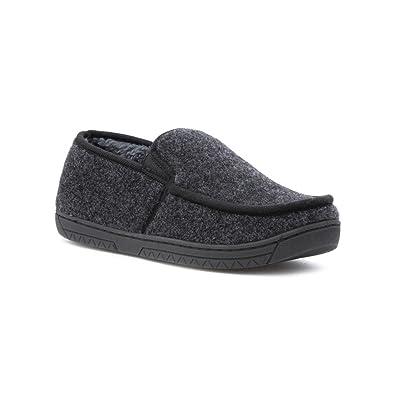 The Slipper Company - Pantoufle gris de mocassin de Faux d'ouatine pour les  hommes
