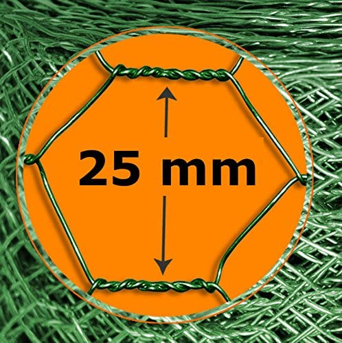 Reti per Recinto Animali a Maglia Esagonale di Due Dimensioni 75 cm x 10 m Giardino Rivestita PVC Verde casa pura Rete Recinzione Metallica 25 mm