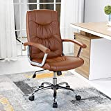 B2C2B Executive Office Chair Swivel Chair with Arms Mid-Back PU Leather Executive Desk Chair Computer Chair With Arms brown