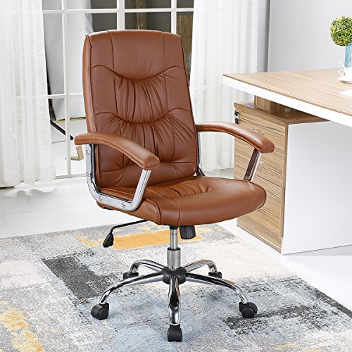 B2C2B Executive Office Chair Swivel Chair with Arms Mid-Back PU Leather Executive Desk Chair Computer Chair With Arms brown by B2C2B