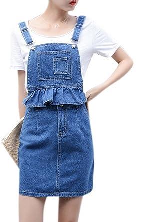 4fa68ba488 Women s Cute 2 Pieces Sweety Denim Overall Dress Bibs Shortall Skirt Plus  Size 27 Blue