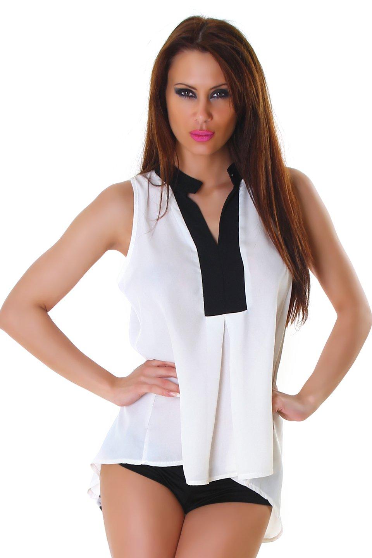 Voyelles Damen Long Bluse Tunika Shirt Bi Color High Low Saum Krepp Top:  Amazon.de: Bekleidung