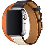WAfeel】Apple Watch Series 4 アップルウォッチ 4代 シリーズ バンド ウォッチ交換ベルト 本革レザー使用 多色 マルチカラー シンプル 二重巻き 男女兼用 (40mm, ネイビー・オレンジ・ホワイト・二重巻き)