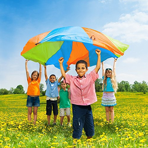 10 Ft. Diameter Parachute with Multi Color Design and Eight Handles by K Roo Sports