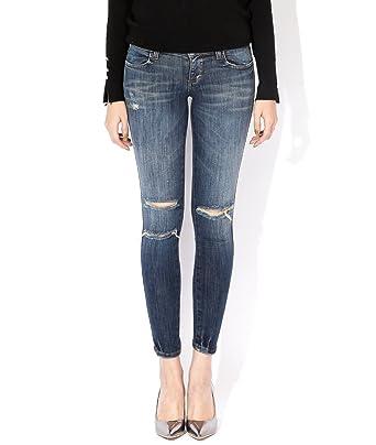 Wiberlux Siwy Women's Ripped Knee Whisker Wash Skinny Jeans 23 ...