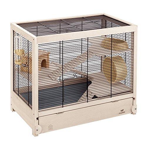 Ferplast Hamsterville Hamster Wooden Cage, 60 x 34 x 49 cm, Black