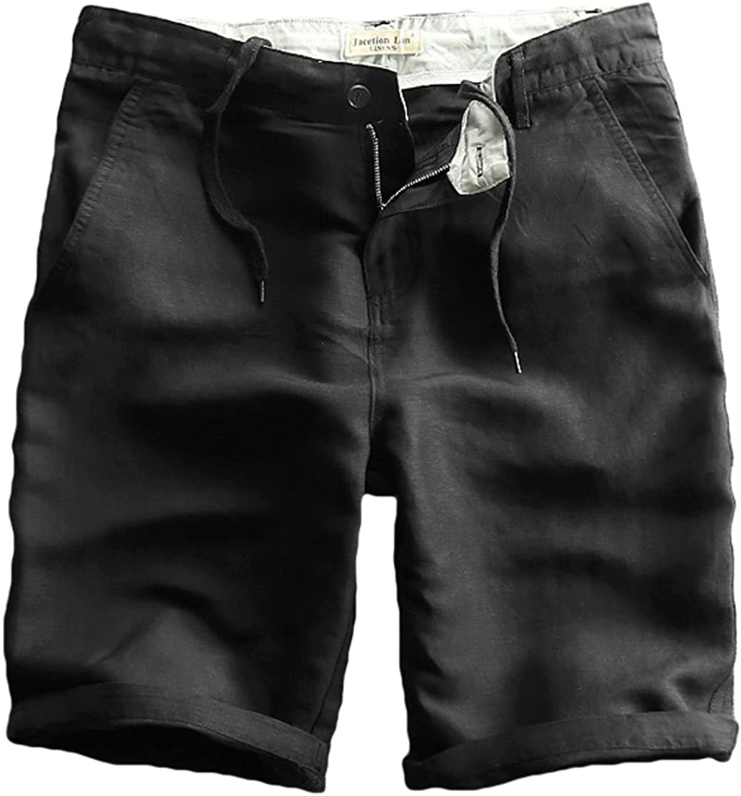 utcoco Mens Classic Inner Draw-String Waist Straight Fit Thin Summer Linen Shorts